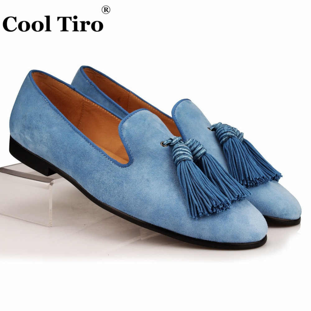 Cool Tiro Men Loafers Suede Slip Slippers Tassel Wedding Dress Shoes Genuine Leather Men's Moccasins italian Lolfer Casual Flats