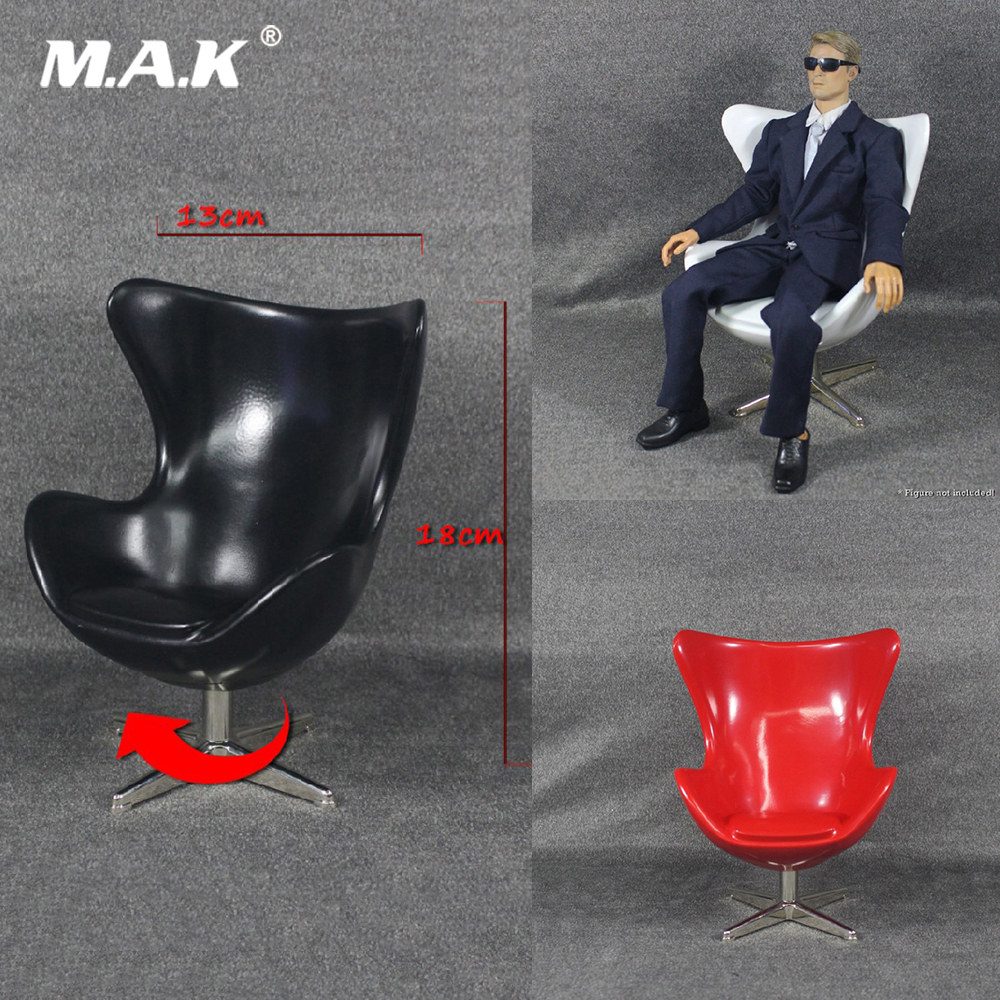 1//6 Scale Computer Chair Red Office Chair Model Adjustable for Scene Accessories