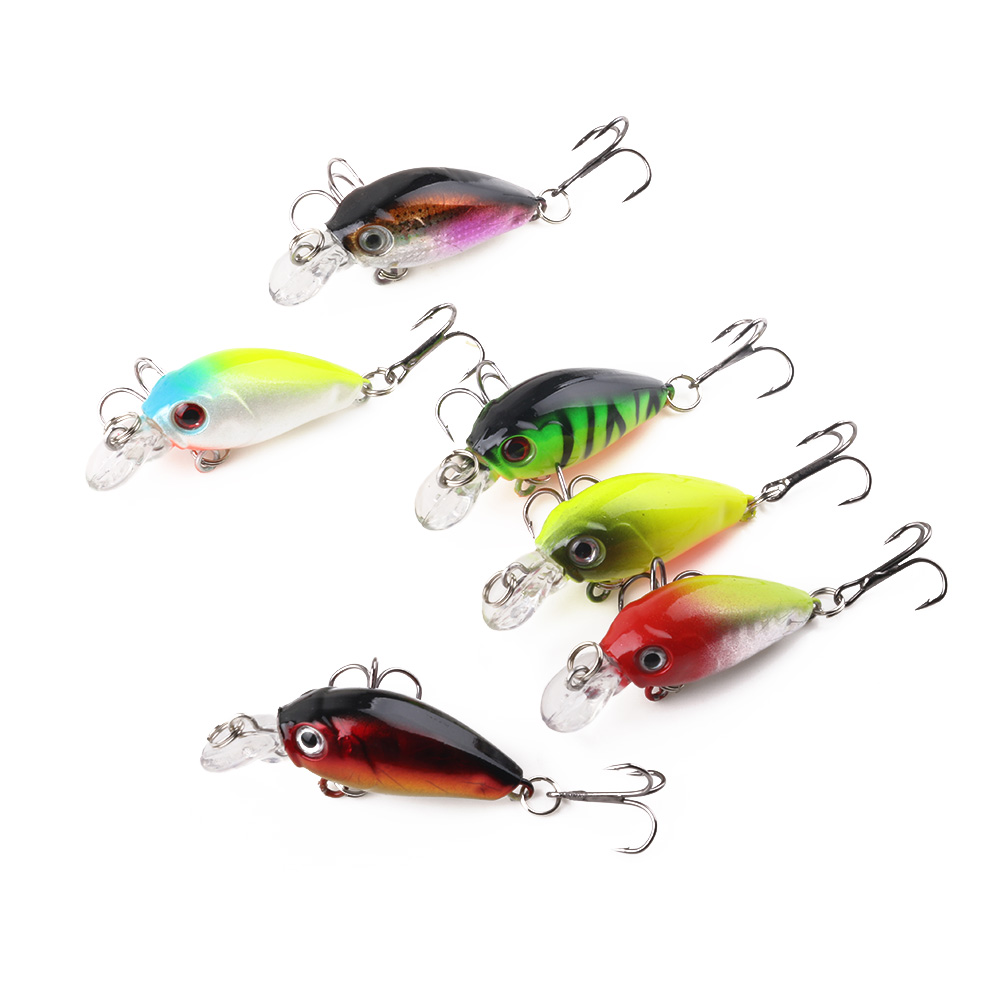 HENGJIA 1PC 4.5CM-4G Crankbait Wobble Fatty Mini Bass Fishing Lure Diving 0.1-0.3M Artificial Hard Bait Fishing Tackle