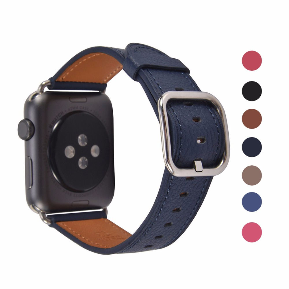 Genuine Leather band for Apple Watch with Classic Square Buckle Strap 42mm 38mm watch band for iwtach series 3 2 1 genuine leather classic buckle watch straps wrist band for apple watch 42mm red