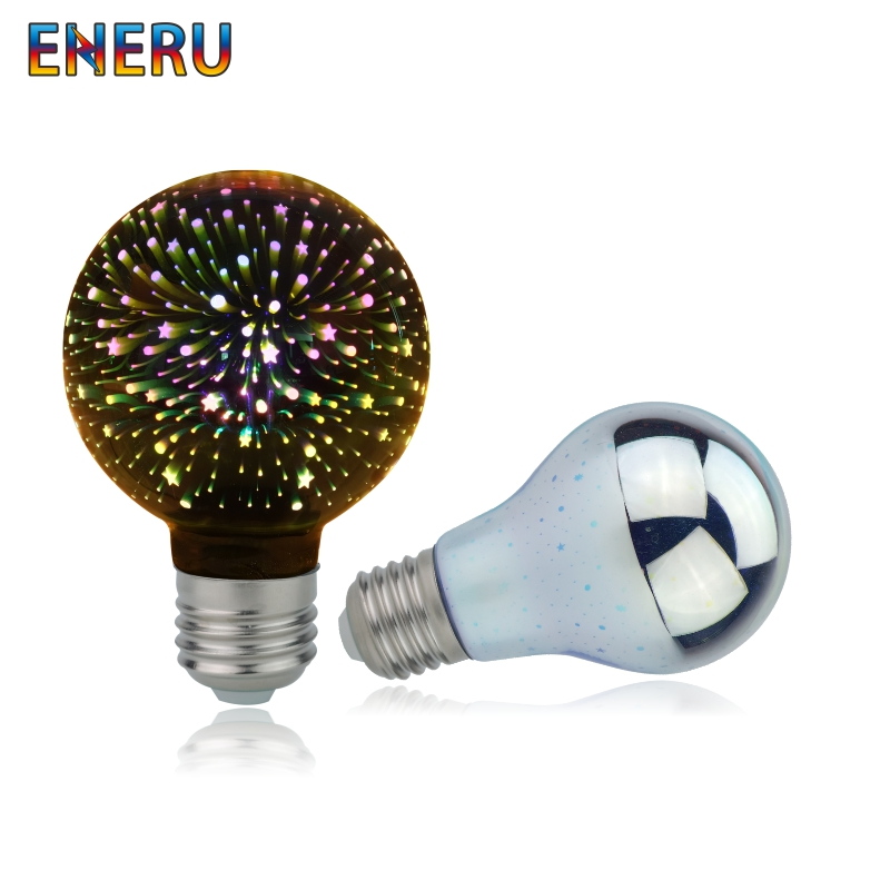 Vintage Edison E27 3D Led Bulb Star Fireworks Night Light 220V A60 ST64 G80 G95 G125 Holiday Novelty Decoration Lighting