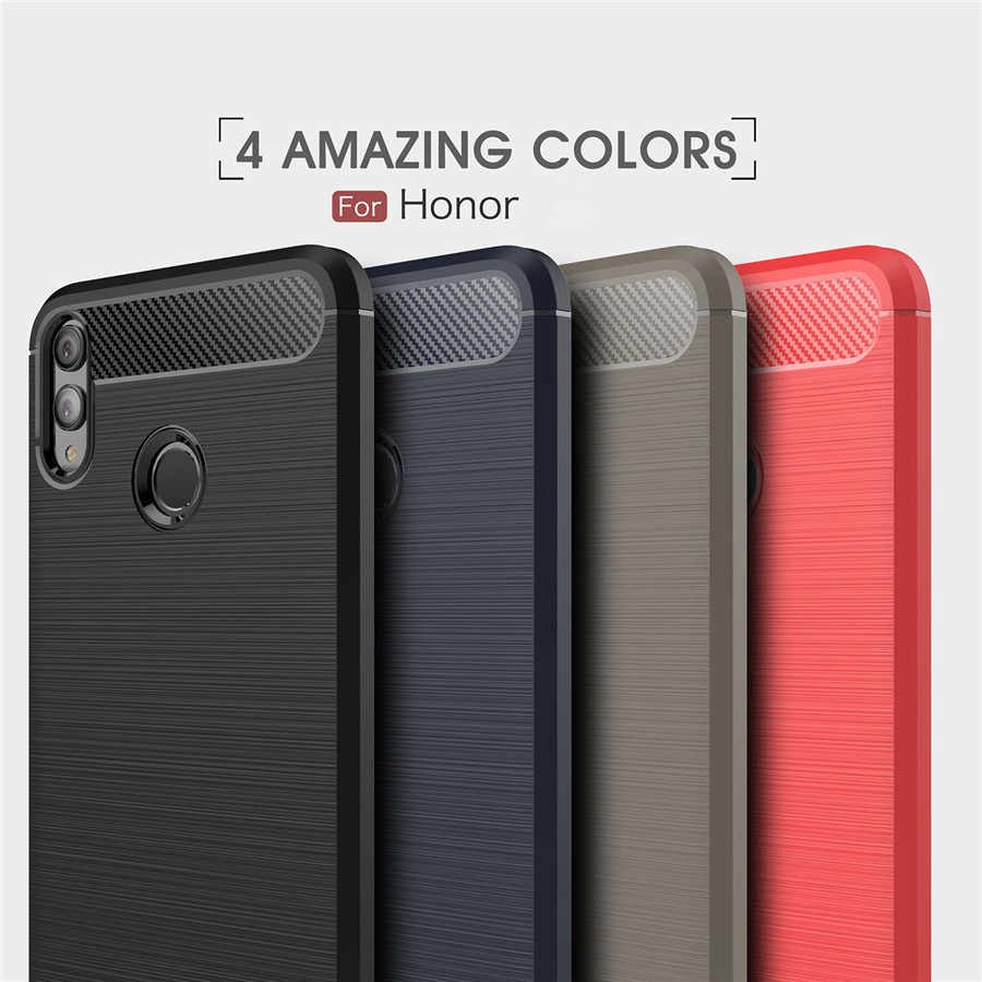 Honor 8X Cases Cover Shockproof Huawei Honor 8 9 10 Lite 7X 6X 5X 8C Play Carbon Fiber Bumper TPU Silicone Protector Case Cover
