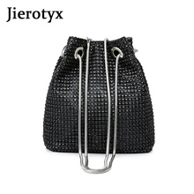 купить JIEROTYX Sexy Crystal Mini Crossbody Bag For Women Rhinestone Inlaid Flash Bucket Clutch Bag For Evening Party Shoulder Bag Lady по цене 976.32 рублей