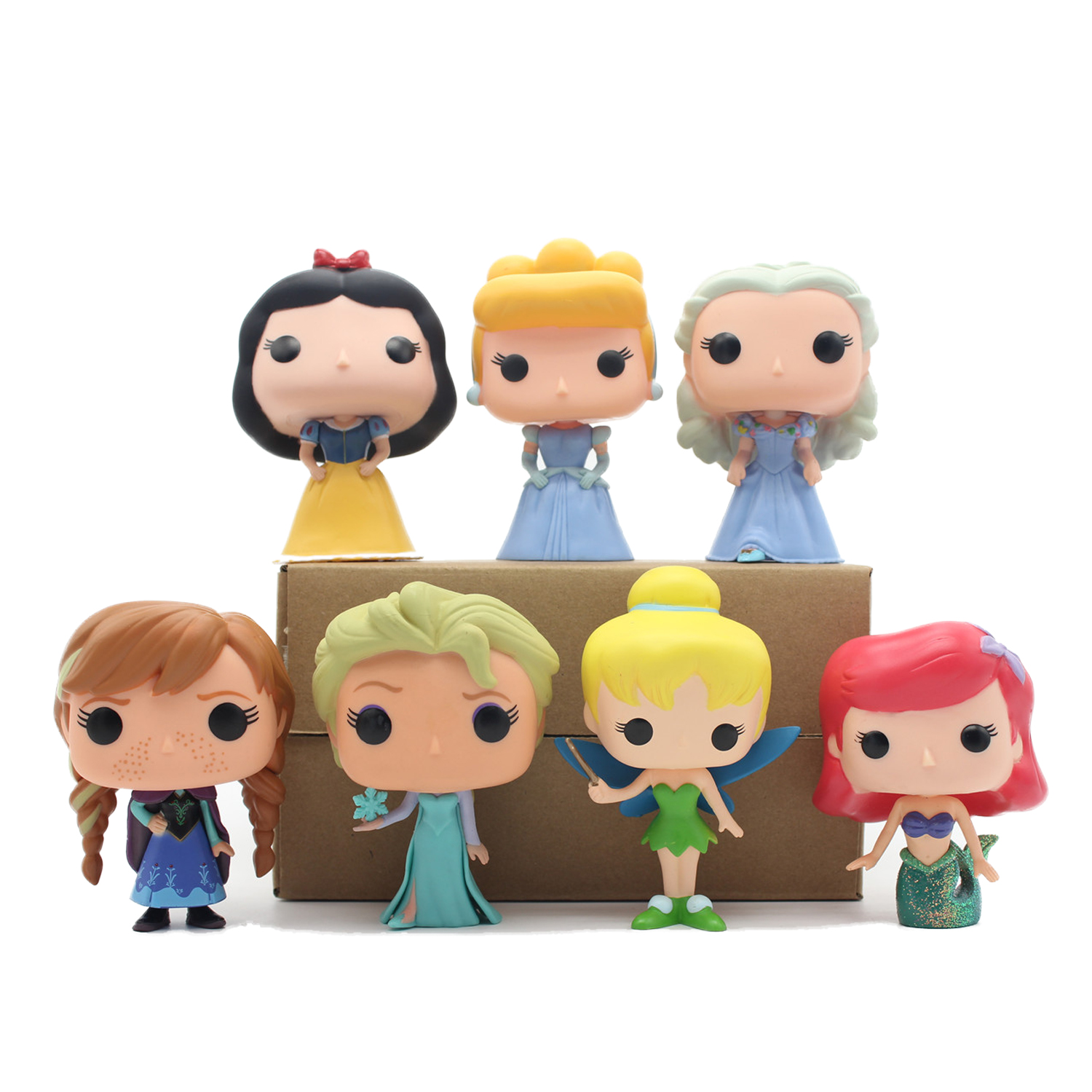 Chanycore Funko pop Princess Cinderella Tinker Bell Ariel Snow White PVC Movie Vinyl Cute Action Figure Collection Gifts Toys