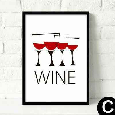 Nordic Black and White Wine Glass Art Poster Wall Pictures for Living Room Minimalist Garden Decoration Oil Painting Canvas