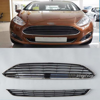 High Quality ABS Front Racing Grills Upper + Down Grill Fit For Ford Fiesta 2013 2014 Accessories 2pcs