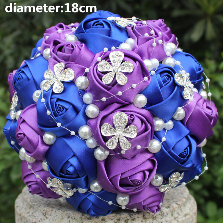 New Arrival Custom Make 2018 Royal Purple Diamond Wedding Bouquet Stunning De Novia Flower Bridesmaid Bouquets In From Weddings