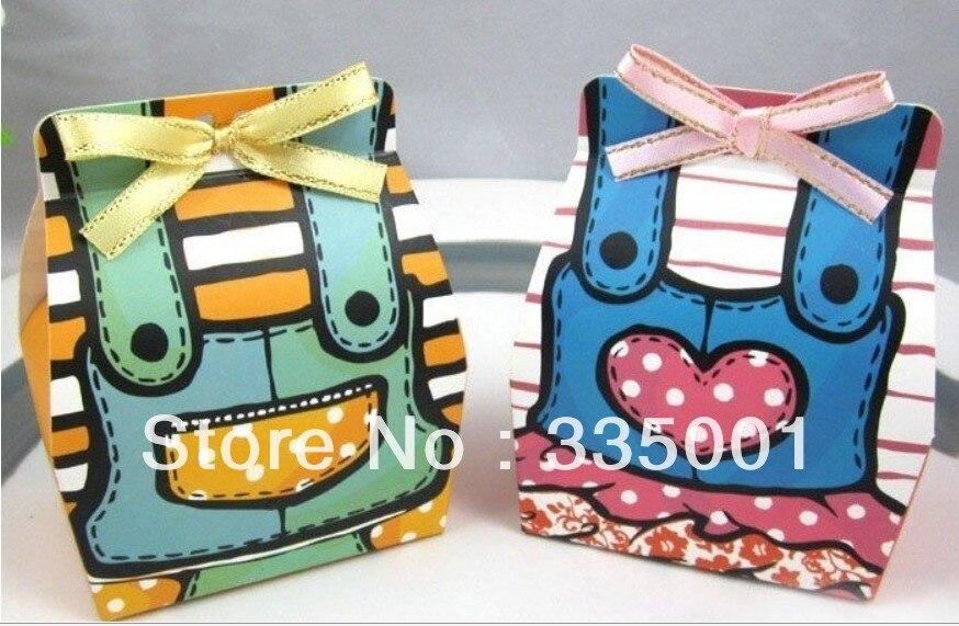 100 шт./лот коробка для свадебных сувениров- двойной коробка для детского подарка