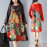 Vintage 2017 chinese stijl vrouwen dikker geschuurd elastische fluwelen pauw print losse jurken basic plus size een stuk dress