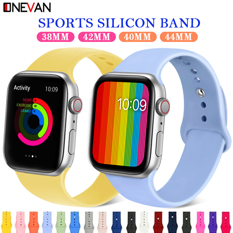 Apple Watch Colorful Soft Silicone Sports Belt Series 4 3 2 1 38MM 42MM IWatch 40MM Rubber Belt Bracelet With 44MM Series 4