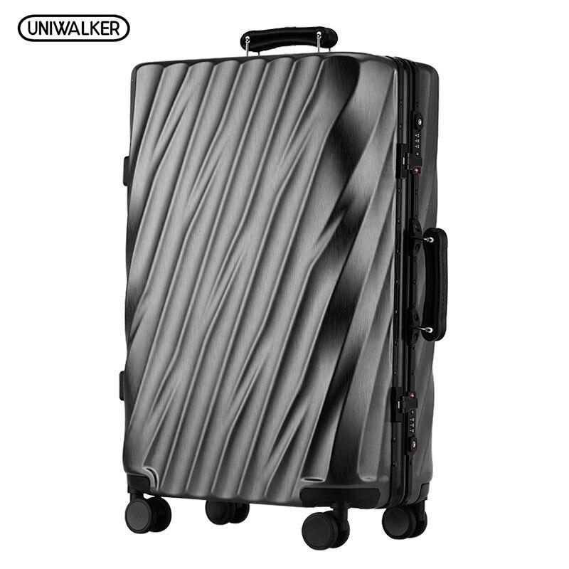 UNWALKER ABS+PC Rolling Luggage Unisex Colorful Travel Trolley Suitcase mala de viagem valiz Aluminum Frame Bag Spinner Wheels