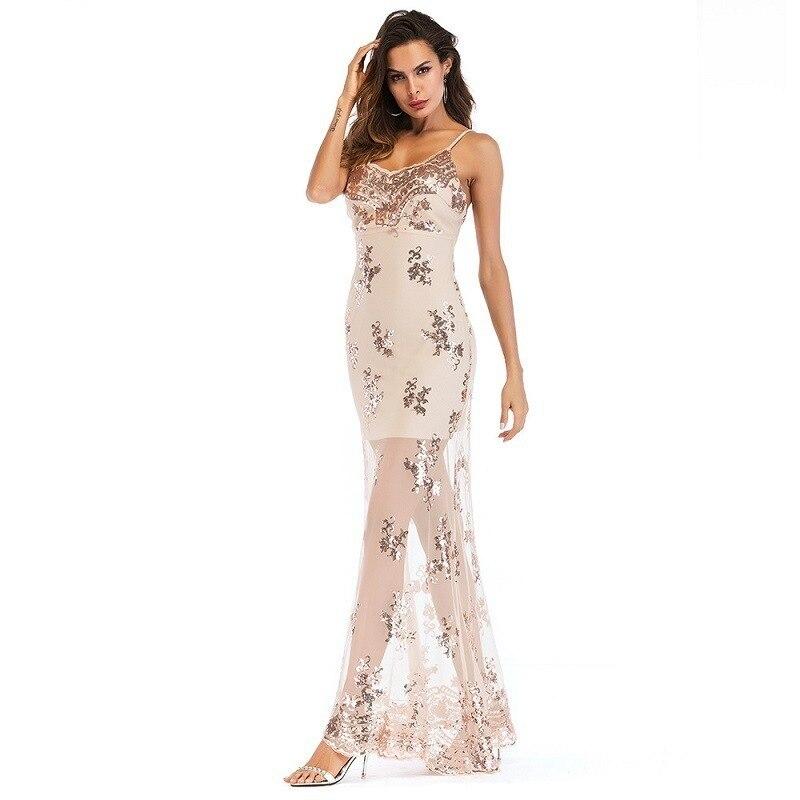 MUXU sexy glitter mesh gold sequin dress backless patchwork suspender long vestidos robe femme women clothing kleider 2018