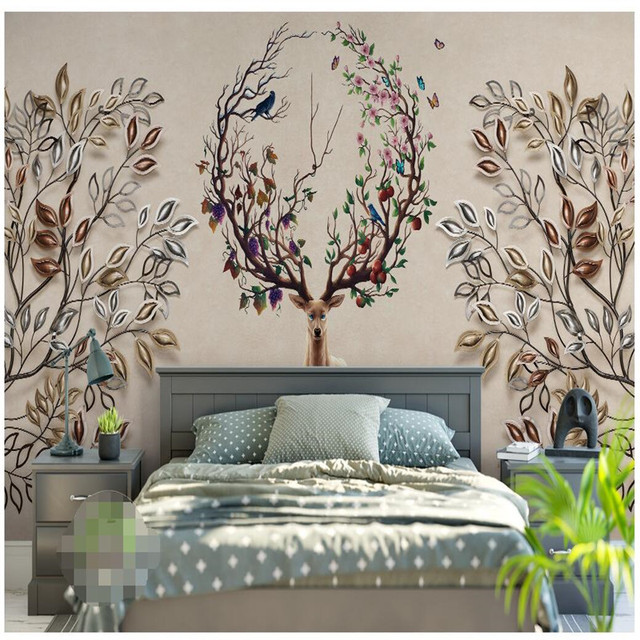 Beibehang moderne tapeten wohnzimmer hintergrund geweih kunst blume ...