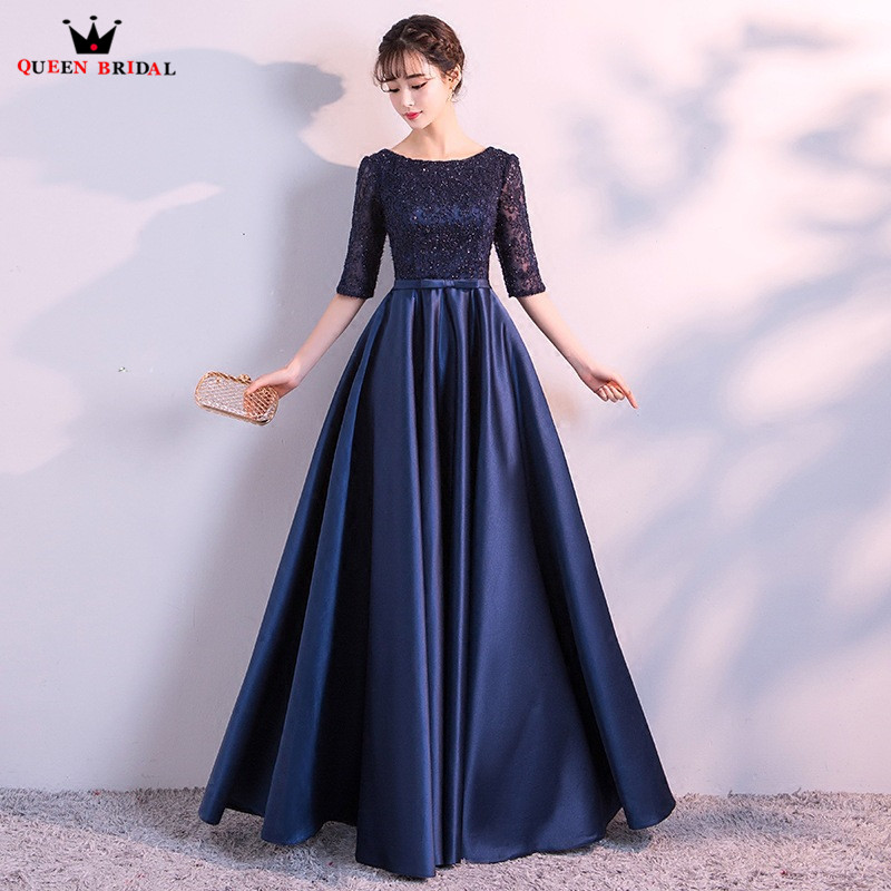 Long Evening Gowns For Wedding: Real Sample Half Sleeves Satin Dress Appliques Evening