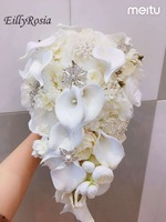 White Lily Bridal Bouquet Waterfall Pearls Jewelry Crystals Expensive Luxury Wedding Bouquet Artificial Flower Custom Made