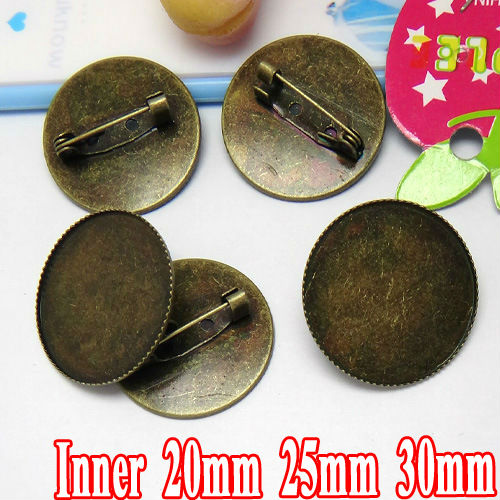 20pcs Wholesale ANTIQUE BRONZE 20-25-30mm Teeth edge Cabochon Cameo Setting Tray with Back Safety Pin Brooch Pin Blank Findigns