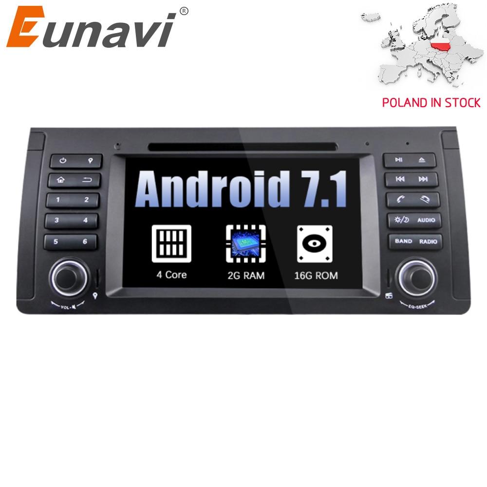Eunavi Quad Core 1 din Android 7.1 lecteur DVD de Voiture Radio Navigation GPS De Voiture Stéréo Pour BMW E53 E39 X5 soutien TV 4g WiFi OBD DVR