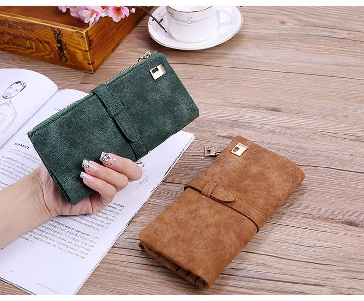 Женщины длинный кошелек мода Марка роскошные матовый кожаный кошелек женский портмоне кошелек женщины держателя карты браслет мешок денег