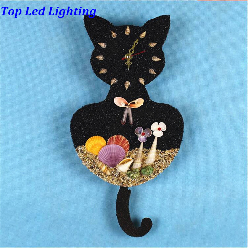 Cute Lovely Handmade Sands Shells Black Cat Led E14 Clock Wall Lamp for Children's Room Aisle Kid's Presents AC 80-265V 1237 1000g dynamic amazing diy educational toys plasticine indoor magic play do dry sands mars space sands color clay for kids