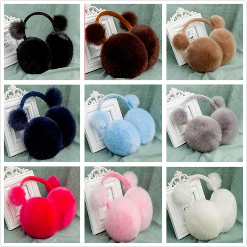 Unisex Mens Womens Imitation Rabbit Fur Earmuffs Winter Warmer Thicked Pure Color Plush Fluffy Ear Muffs Headband New ZJM9041