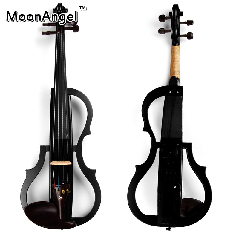4/4 Black Wood Electric Violin Musical Instruments Good Quality Stringed Instrument Suitable for Beginners and Music Amateur handmade new solid maple wood brown acoustic violin violino 4 4 electric violin case bow included