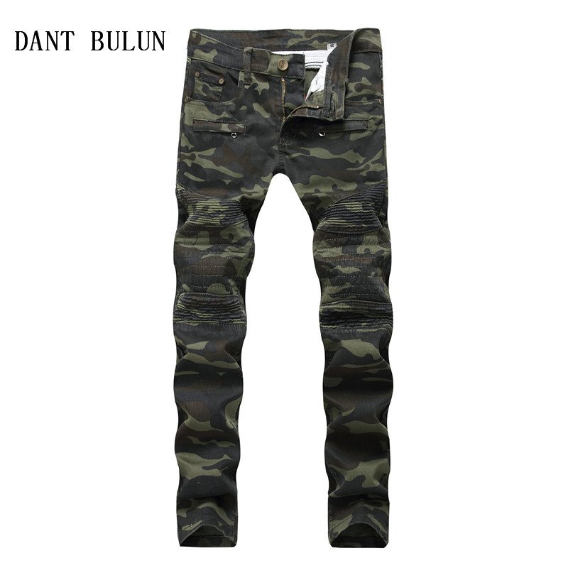 DANT BULUN Patchwork Biker Jeans Men Camouflage Slim Fit Skinny Motocycle Denim Trousers Straight Washed Zipper Hip Hop Pants