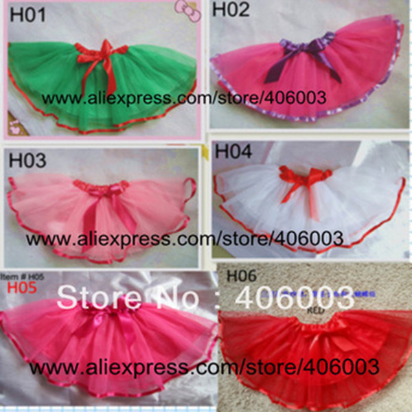 Christmas sweety cute baby skirts girl green with red ribbon trim mixed color tulle todder skirt