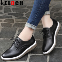 Keloch Women Casual Flats Soft Leather Lace Up Oxford Shoes Female Moccasins 2017 High Quality Summer