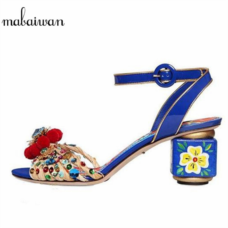 Mabaiwan Fashion Blue Flower Print Gladiator Sandals Designer Women Pumps Handmade High Heels Wedding Shoes Woman Pom Pom Sandal off shoulder floral print pom pom trim dress