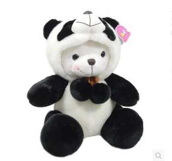 Juguete de peluche grande de 50 cm Panda con sombrero de felpa de juguete que cambia de cara panda muñeca almohada, regalo de Navidad w0779