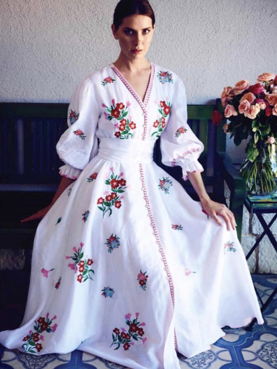 Floral brodé robe mi-longue femmes blanc bohème Chic robes de soirée automne été vêtements 2019 Boho plage fête Vintage robe