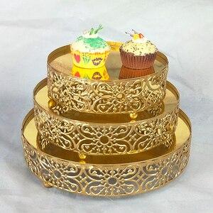 Novedad en Juego de 3 uds. De espejo redondo blanco, dorado, plateado y rosa, soporte de Metal para pastel, Decoración de casa, boda y fiesta de cumpleaños