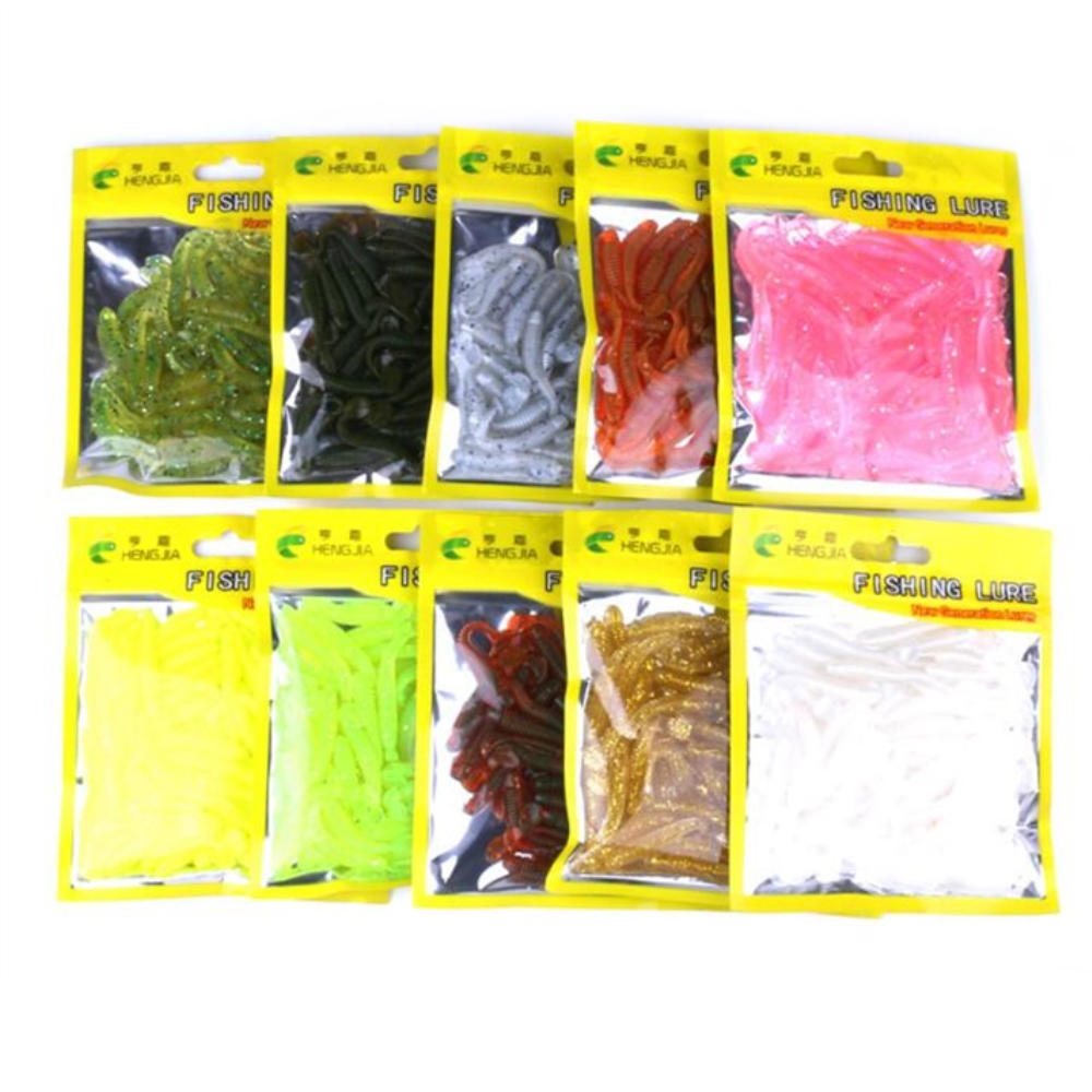 50pc soft bait Worm Grubs T Tail Wobblers Fishing Lure 5.2cm 0.6g Aritificial Silicone salt Smell Bass Pike Fishing Jigging Bait