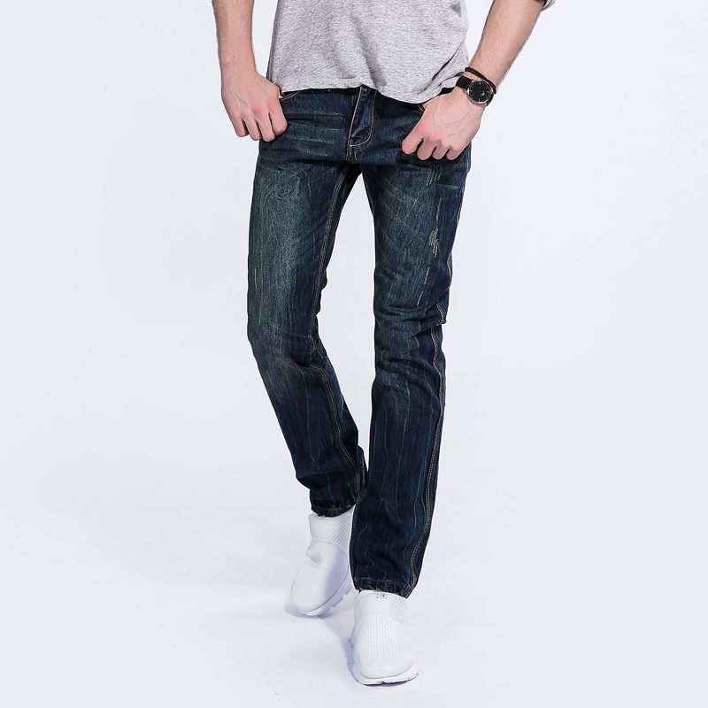 Mens Dark Jeans Ripped Trousers Male Slim Fit Denim Jean Pants High Quality Classic Mid Stripe Brand Jeans Men With logo 501 2017 slim fit jeans men new famous brand superably jeans ripped denim trousers high quality mens jeans with logo ue237