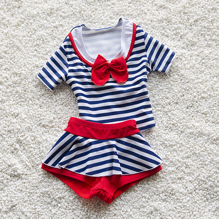 Kids Lovely Blue Stripes Swimsuit Quality Girls Baby Princess Swimwear Two-pieces Bath Suit Infant Red Children Beachwear M-2XL
