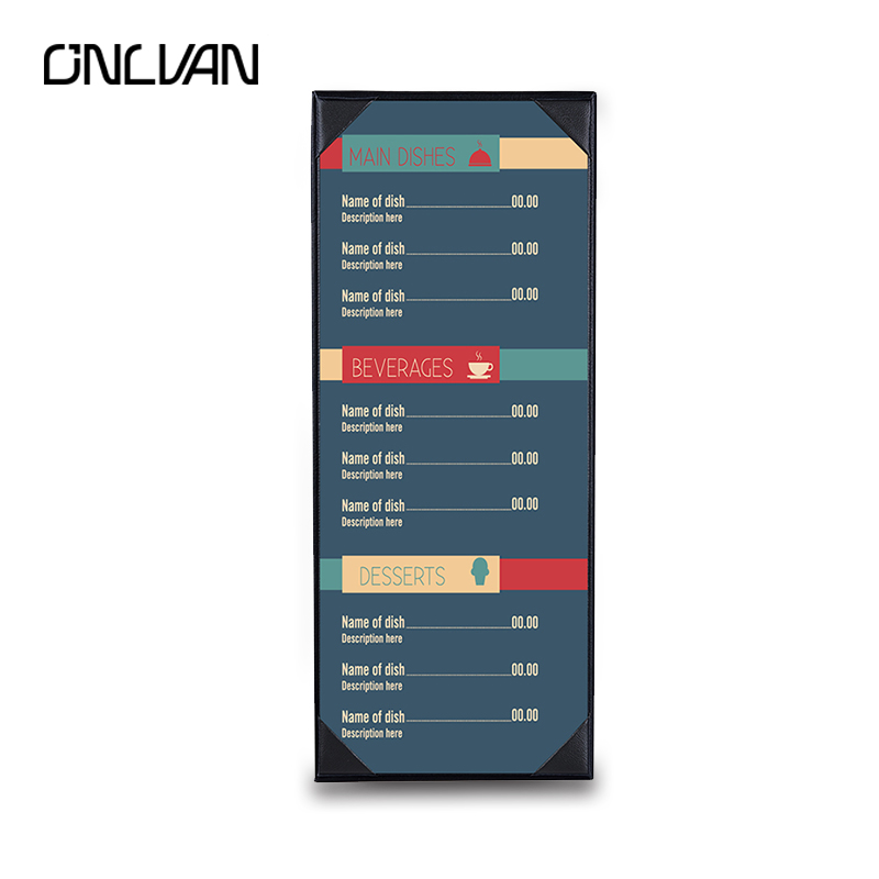 ONLVAN PU Leather Menu Folder Restaurant Menu Cover Luxury Menu List Clip Eurpean Style Hotel Display Accept OEM Red Wine Folder pu leather menu holder restautant menu covers custom leather folders pvc page with high quality accept customized order