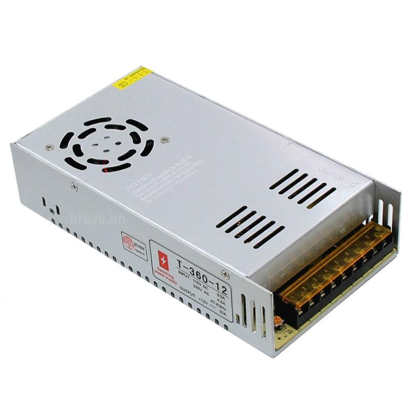 AC 110/220 V para DC 12 V 30A 360 W fonte de Alimentação LED Driver Adaptador Transformador 12 v conversor 220 v Para 5050 3528 3014 LED Strip Luz