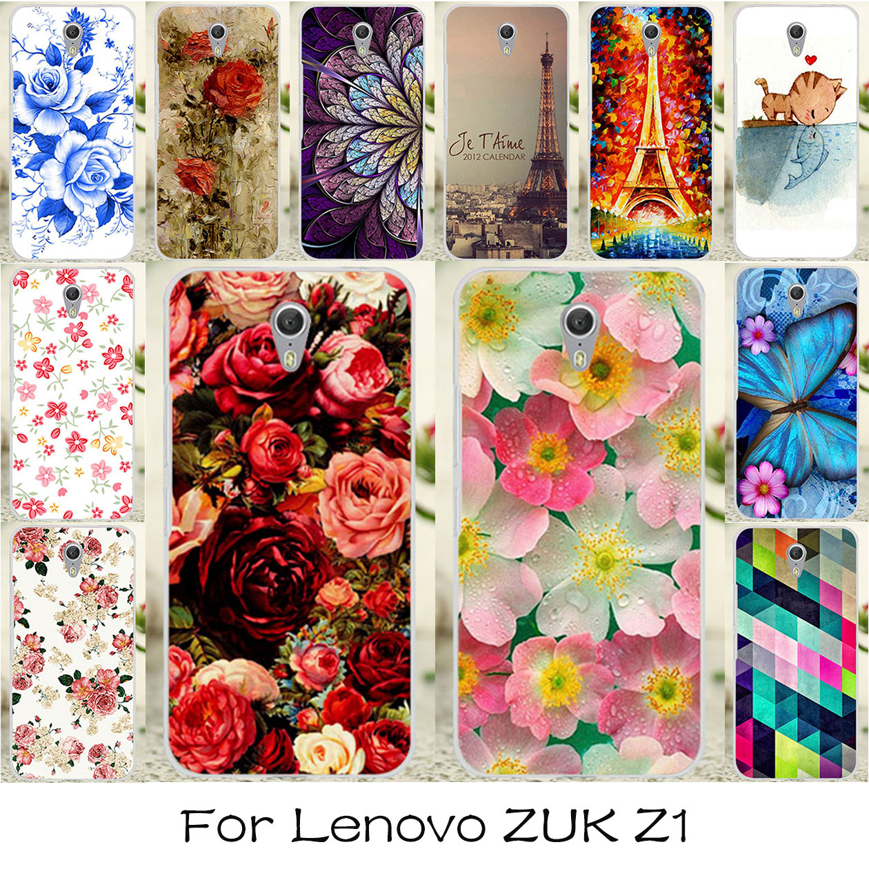 Galleria fotografica TAOYUNXI Silicone Plastic Phone <font><b>Covers</b></font> Cases For Lenovo ZUK Z1 Z1221 5.5 inch Bag Shock-Proof <font><b>Covers</b></font> Colorful Flower Cases Skin