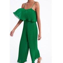 one piece jumpsuit for women 2019 suspenders elegant backless pleated jumpsuits body femme green casual wide leg long jumpsuit недорого