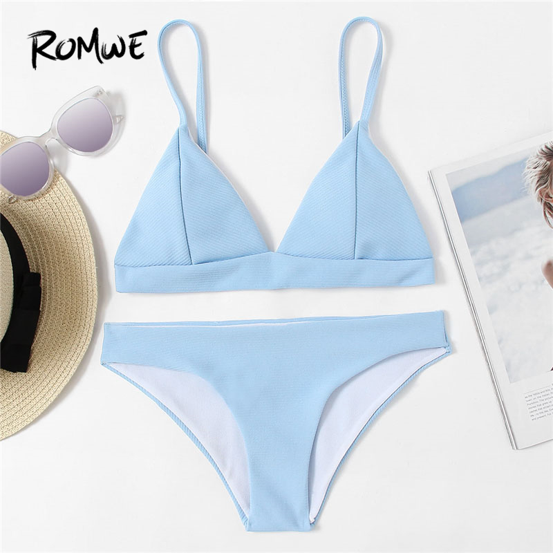 Romwe Sport Seam Triangle Bikini Set Blue Plain Swimwear With Chest pad 2018 Summer New Women Beach Sexy Bikini Set