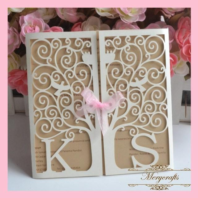 150 unidslote beigecrema invitaitons boda invitaciones de matrimonio boda laser cut invitaciones - Invitaciones De Boda Elegantes
