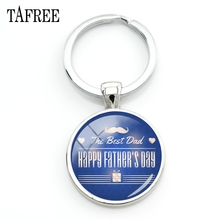 TAFREE The Best Dad HAPPY FATHER'S DAY Keychain Metal Silver Color Keychains For Father Daddy Father's Day Gift Jewelry FQ895
