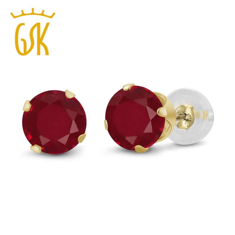 GemStoneKing 1.12 Ct Round Cut 5mm Natural Red Ruby  Stud Earrings For Women 14K Yellow Gold Gemstone Fine Jewelry