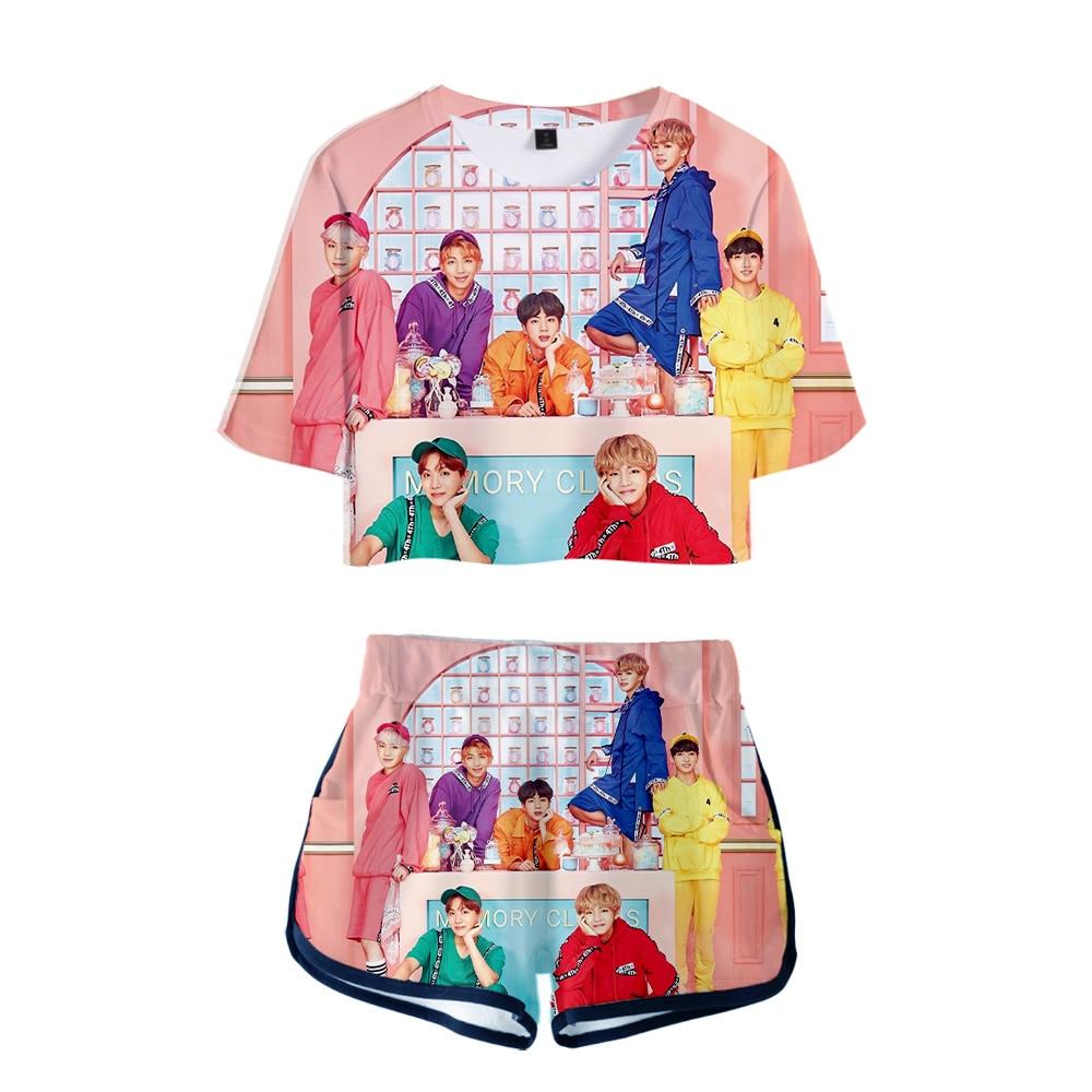 Bf Drop Shopping 2019 New Kpop  Jimin Suga 3d Summer Two Pieces Sets Women Fashion Clothes Girl Hot Harajuku T-Shirts Shorts