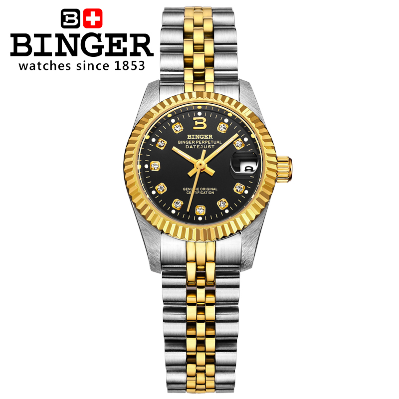 Couple watches BINGER Fashion Rhinestone Dress Men Women  Waterproof watch Female Form  Automatic Mechanical Watch Gift top brand binger fashion casual watch female form hollow automatic mechanical watches self winding women waterproof leather