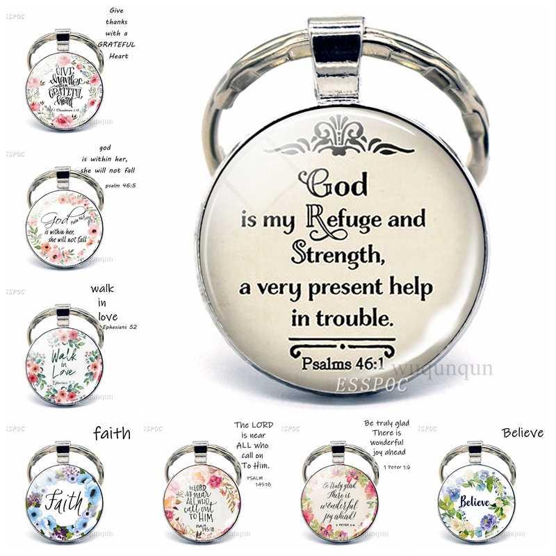 Deus é o meu refúgio e strengh bíblia citação chaveiro pingente, bíblia pingente bíblia versículo chaveiro chaveiro presente