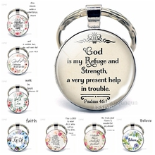 God Is My Refuge and Strengh Bible Quote Jewelry Keychain Pendant, Bible Pendant Bible Verse Key Chain Ring Keyring Gift the lord is near all who call ont to him bible verse psalm quote key chain glass jewelry christian pendant keyring keychain gift