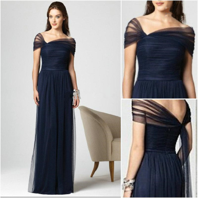 2015 New Arrival Dark Navy Bridesmaid Dresses Stretch Tulle Cap Sleeves  Full Length Pleated Dessy K4 2b4adce82eae