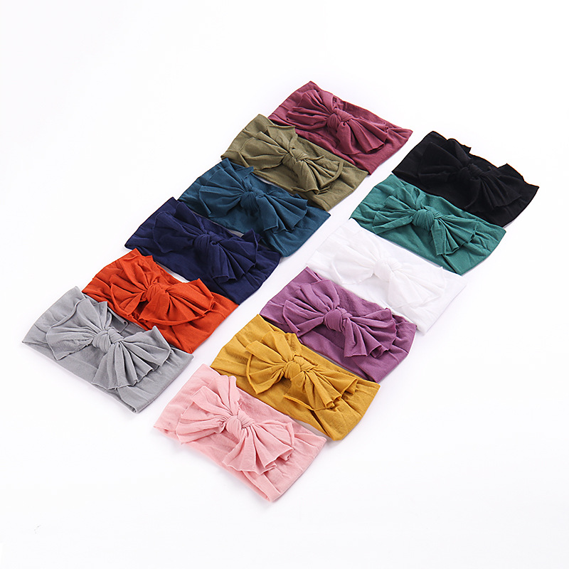 Newborn Candy Knot Bow Turban Head Wraps Hair Bands Toddlers Wide Bows Soft Nylon Headbands Girls Soft Elastic Nylon Head Bands