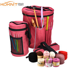 KOKNIT 3pcs/set Knitting Bag Yarn Tote Organizer Bag Portable Easy To Carry Crocheting&Knitting Organizer Case For Women Mom(China)